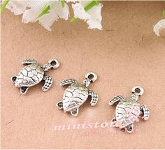 30pcs antiqued silver turtle charms  WU405 by ministore on Etsy, $3.80