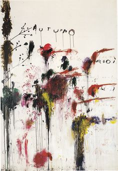 Cy Twombly: Quattro Stagioni: Autunno, 1993-5. Acrylic paint, oil paint, crayon and graphite on canvas. Tate Gallery, London (not on display).