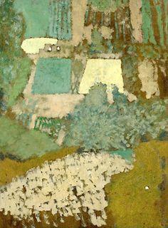 """peinture française : Édouard Vuillard, """"Vue Plongeante Sur La Colline"""", 1900, vert pâle"""