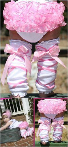 Ballerina Bow ruffled Leg Warmers