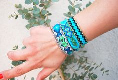 Chain Friendship Bracelet. Blue Mood. Crystal Quartz. Neon Green Theard with tribal coin and Silver Color  Chain. by sobohemians on Etsy