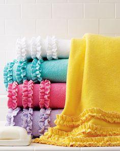 Fun ruffled bath towels