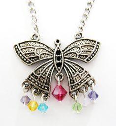 Multi-Color Swarovski Crystal Butterfly Pendant Necklace