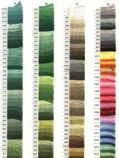 Tabla de colores de madejas anchor. Lista colores anchor
