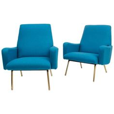 firstclass modern armchair. Pair of Blue Armchairs  Louis Paolozzi Attributed France circa 1950 From a MV Augustus Ocean Liner First Class Chairs by Gustavo Pulitzer