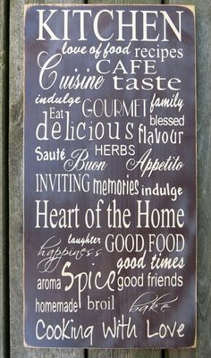 Kitchen Themed Subway/Typography Wooden Vinyl Sign x Kitchen decor, kitchen subway art, kitchen quotes, kitchen wall art Woodworking Guide, Custom Woodworking, Woodworking Projects Plans, Kitchen Wall Art, Diy Kitchen, Kitchen Decor, Kitchen Ideas, Inspirational Quotes From Books, Kitchen Quotes