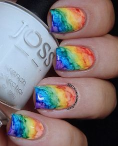 These pretty marbled-like rainbow polish can be hard. But with the right technique and practice, you can likely do them soon. But of course, do find a good tutorial for that.