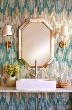 {How amazing would it be to do a powder bath in this amazing ikat tile by New Ravenna Mosaics?}