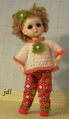 """Rosy Snuggle for 8"""" Ten Ping or Strawberina bjd by JDL Doll Clothes #RubyRedGalleria8bjd"""