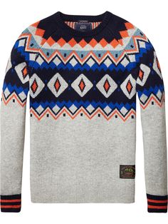 Knitted sweater with Shetland pattern