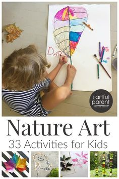 33 ideas for nature art for kids, including land art, journals, & leaf prints. Some of these art activities are inspired by nature; some use nature items.