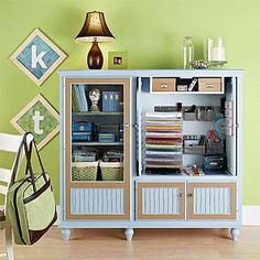 Scrapbooking Storage Center, repurpose old entertainment center??
