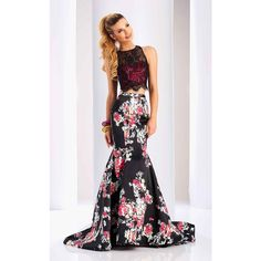 Clarisse 3209 Prom Dress 2017 Long High Neckline Sleeveless (2.615 NOK) ❤ liked on Polyvore featuring dresses, gowns, formal dresses, long evening dresses, long floral dresses, prom gowns, two piece prom dresses and floral print evening gown