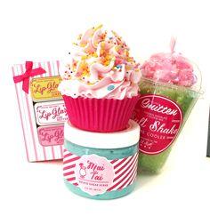 Feeling Smitten Cupcake Bath Bombs, Lip Glaze, Salt Soak Shake and Gelato Sugar Scrub