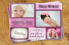 Baby Girl Birth Announcement Photo Custom 5x7 4x6 by TheLudwigShop, $15.99