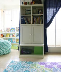 Love the reading nook for kids with the bean bag and windows letting in natural light.