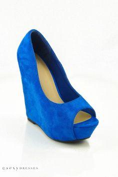 Blue 'Ocean' Peep Toe Wedge Shoes