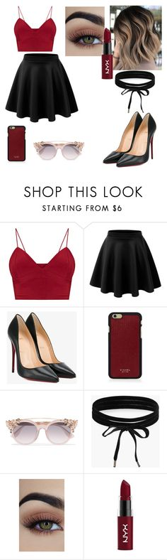 """Look #18"" by amandavitoriaavila on Polyvore featuring Christian Louboutin, Vianel, Jimmy Choo, Boohoo and NYX"