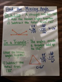 Finding Missing Angles Anchor Chart