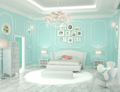 20 Bedroom Paint Ideas For Teenage Girls | Tiffany blue is a refreshing hue that is cool and comforting. It brings class and elegance in your teen's bedroom design with a feminine touch.: (Cool Beds For Teen Girls)