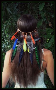 Parrot bay feather headband festival fantasy by dieselboutique