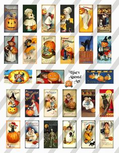 Digital Collage Sheet Domino Halloween Postcard by lisasalteredart