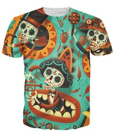 The Day of the Dead is a traditional Mexican Holiday that takes place on the eve of October 31st, this all-over print Dia de los Muertos T-Shirt design by artis