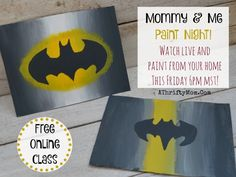 Easy paintings on canvas, easy art projects for kids join our FREE class and you can paint with us, Batman, superhero Mommy and Me paint night, popular paint projects for kids and parents Easy Canvas Painting, Spring Painting, Easy Paintings, Painting For Kids, Kids Paintings On Canvas, Painting Art, Easy Art Projects, Projects For Kids, Kids Crafts