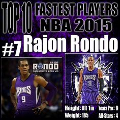Rajon Rondo has always been regarded as one of the fastest players in the NBA since his days with the Celtics. While Rondo had a couple years where he was looking as if he was going to regress, he has come in full form in 2015 and continues to be one of the fastest and most athletic players in the nba today. http://www.prosportstop10.com/top-10-fastest-nba-players-2015