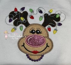 Reindeer With Light and Necklace Embroidery Shirt Personalize with Name on Etsy, $25.00