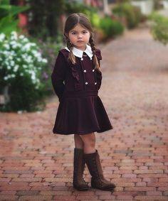 Another great find on #zulily! Burgundy Ruffle-Trim Austin Dress - Toddler & Girls #zulilyfinds