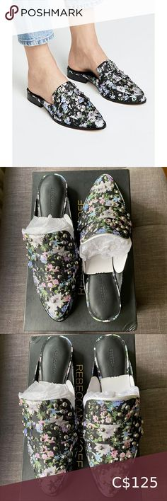 Rebecca Minkoff Milena Mules -NWT Rebecca Minkoff black silk with floral print slip on loafer mules with silver studs -Size 8 -Comes with Box Rebecca Minkoff Shoes Flats & Loafers Bow Shoes, Slip On Shoes, Black Silk, Black Leather, Silver Loafers, Rebecca Minkoff Shoes, Plus Fashion, Fashion Tips, Fashion Design