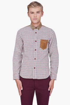 JUNYA WATANABE Cream Plaid Leather Trim Tattersall Shirt