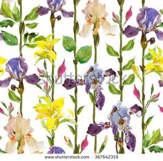 Seamless Pattern Watercolor Artwork Hand Drawn Illustration Vertical Trunks with Flowers Lilacs and Irises - stock photo