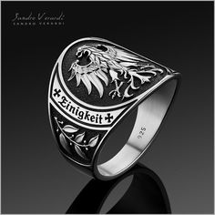 Mens Ring Silver Men Band Ring German Federal Eagle by Unique Silver Rings, Mens Silver Rings, Silver Man, Bridal Rings, Wedding Rings, Sandro, Eagle Ring, Mens Band Rings, Men Accessories
