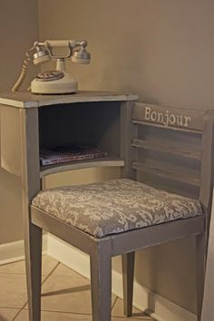 The day has arrived that I promised you so long ago. I finished the telephone table! So without further ado, here she is: . Chair Makeover, Furniture Makeover, Furniture Refinishing, Vintage Furniture, Painted Furniture, Repurposed Furniture, Vintage Decor, Telephone Seat, Telephone Call