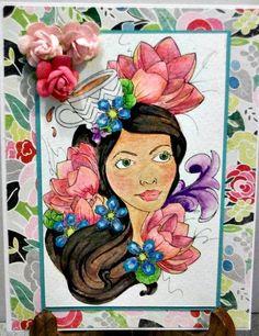 Carte de voeux à la main la main fait Carte par LilyGraceInspired