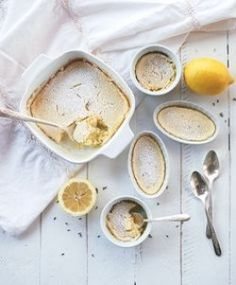 Lavender lemon pudding