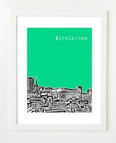 Birmingham, United Kingdom Skyline Poster - Birmingham, UK City Art Print - 8x10 in navy
