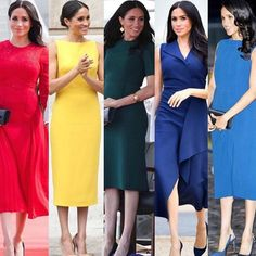 Meghan the Duchess of Sussex and Catherine the Duchess of Cambridge's rainbow style guide our colorful life, it's absolutely… Harry And Meghan News, Kate And Meghan, Prince Harry And Megan, Estilo Meghan Markle, Meghan Markle Style, Work Fashion, Fashion Outfits, Womens Fashion, Meghan Markle Outfits