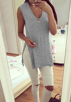 Grey Side-Slit Sleeveless Tunic