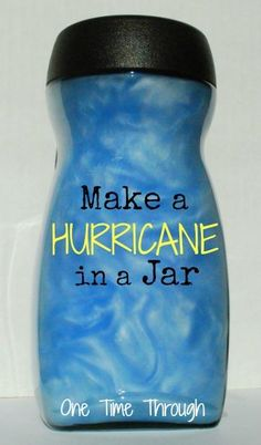 Making a hurricane in a jar can help the students visualize what a hurricane looks like. This is a great science experiment to do with the class. After the experiment, you can have them complete a worksheet documenting what they saw and experienced. Preschool Science, Science Fair, Teaching Science, Science For Kids, Earth Science, Science Ideas, Science Classroom, Science Education, Physical Education