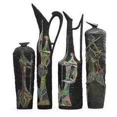 Marcello Fantoni; Glazed Earthenware Vases, c1960.