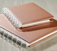 Circa® Rose Gold Foldover Notebook •  An elegant Circa® leather notebook in rose gold Add some luxury to your everyday note-taking and organization with this limited edition rose gold leather notebook. The inside cover features pockets for business cards, 3x5 cards or loose papers and a pen loop to keep your writing instrument handy.