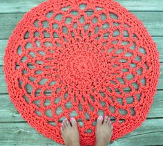 Red Patio Porch Cord Crochet Rug in 33 Lacy Circle Pattern