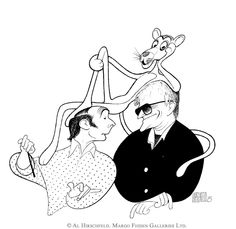 "AL HIRSCHFELD'S portrait of BLAKE EDWARDS and HENRY MANCINI WITH THE PINK PANTHER. Original Crow Quill Pen & Ink Drawing on Artists' Board, Hand signed in Ink by Al Hirschfeld, 1994, 27"" (h) x 21"" (w), Al Hirschfeld Archive #3112"