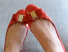 Red Ferragamo Varina Flats