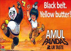 Amul Advertiser: Gujarat Cooperative Milk Marketing Federation Ltd Creative Agency DaCunha Communications Pvt Ltd , India Sanskrit Words, Indian Prints, Kung Fu Panda, Animation Film, Print Ads, Black Belt, Vintage Ads, Brand Names, Slogan