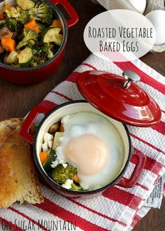 Roasted Vegetable Baked Eggs with Goat Cheese - On Sugar Mountain - the blog poster called this breakfast, I call it a nice dinner.