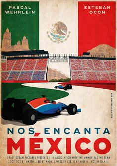 Retro poster design for Manor Racing F1 team. I have made this illustration for the Grand Prix of Mexico. A collaboration with Just Racing Limited Ltd.